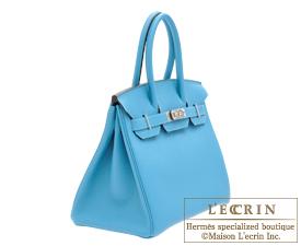 Hermes Birkin bag 30 Turquoise blue Togo leather Silver hardware