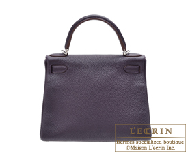 Hermes Kelly bag 28 Raisin/Purple Clemence leather Silver hardware