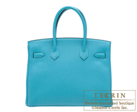 Hermes Birkin bag 30 Turquoise blue Clemence leather Silver hardware