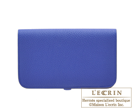 Hermes Dogon GM Blue electric Togo leather Silver hardware
