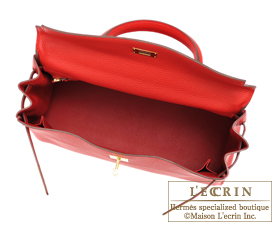 Hermes Kelly bag 35 Rouge casaque Clemence leather Gold hardware