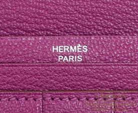 Hermes Bearn Soufflet Anemone Chevre myzore goatskin Silver hardware
