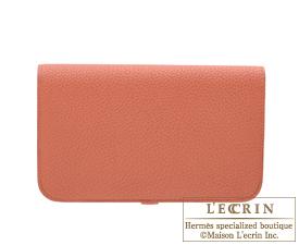 Hermes Dogon GM Rosy/Orange pink Togo leather Matt silver hardware