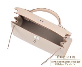 Hermes Kelly bag 32 Argile Grain d'H calfskin Silver hardware
