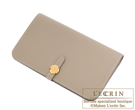 Hermes Dogon GM Gris tourterelle Togo leather Gold hardware