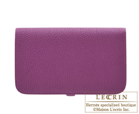 Hermes Dogon GM Anemone Togo leather Silver hardware