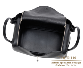 Hermes Lindy bag 34 Black Clemence leather Silver hardware
