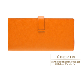 Hermes Bearn Soufflet Feu/Fire orange Epsom leather Gold hardware