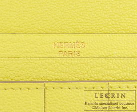 Hermes Bearn Soufflet Soufre/Soufre yellow Chevre myzore goatskin Gold hardware