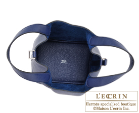 Hermes Picotin Lock bag PM Blue saphir Clemence leather Silver hardware