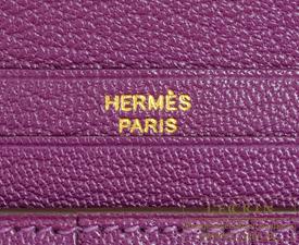 Hermes Bearn Soufflet Anemone Chevre myzore goatskin Gold hardware