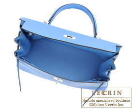 Hermes Kelly bag 35 Blue paradise Clemence leather Silver hardware