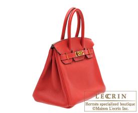 Hermes Birkin bag 30 Rouge casaque Clemence leather Gold hardware ... 9d92142cbe760