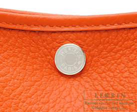 Hermes Garden Party bag TPM Feu/Fire orange Country leather Silver hardware