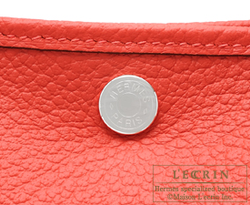 Hermes Garden Party bag TPM Rouge pivoine Country leather Silver hardware