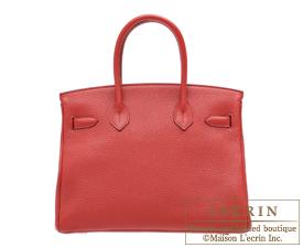 Hermes Birkin bag 30 Rouge garance/Bright red Clemence leather Silver hardware