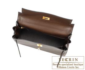 Hermes Kelly bag 32 Retourne Cacao Clemence leather Gold hardware