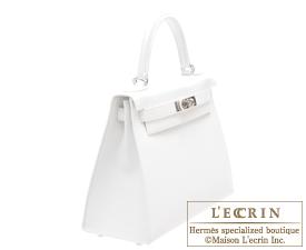 Hermes Kelly bag 28 White Epsom leather Silver hardware
