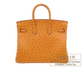 Hermes Birkin bag 25 Gold Ostrich leather Silver hardware