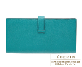 Hermes Bearn Soufflet Blue paon Chevre myzore goatskin Silver hardware