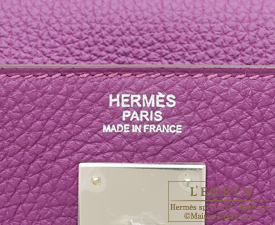 Hermes Kelly bag 32 Anemone Togo leather Silver hardware