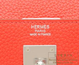 Hermes Kelly bag 32 Retourne Rose jaipur Clemence leather Silver hardware