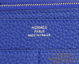 Hermes Dogon GM Blue electric Togo leather Matt silver hardware