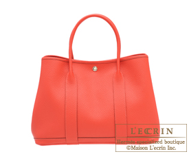 Hermes Garden Party bag PM Rouge pivoine Country leather Silver hardware