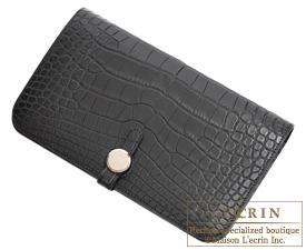 Hermes Dogon GM Black Matt clligator crocodile skin Silver hardware