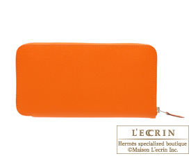 Hermes Azap long Orange Epsom leather Silver hardware
