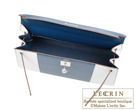 Hermes Kelly bag 32 Blue thalassa/White Epsom leather Silver hardware