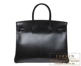 Hermes Birkin bag 35 Black Box calf leather Guilloche hardware