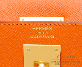 Hermes Kelly bag 32 Orange Epsom leather Gold hardware
