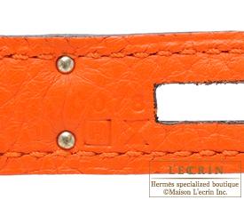 Hermes Birkin bag 35 Feu/Fire orange Clemence leather Silver hardware
