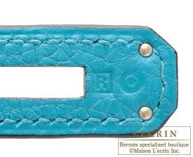 Hermes Kelly bag 32 Turquoise blue Togo leather Silver hardware