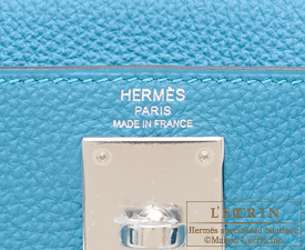 Hermes Kelly bag 28 Turquoise blue Togo leather Silver hardware