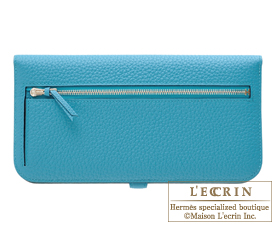 Hermes Dogon LONG Turquoise blue Togo leather Silver hardware