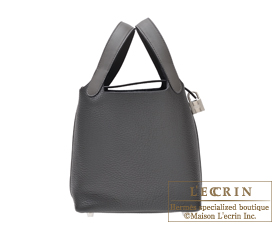 Hermes Picotin Lock Touch bag PM Graphite/Plomb Clemence leather/ Swift leather Silver hardware