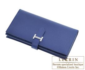 Hermes Bearn Soufflet Blue saphir Epsom leather Silver hardware