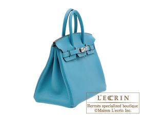 Hermes Birkin bag 25 Turquoise blue Togo leather Silver hardware