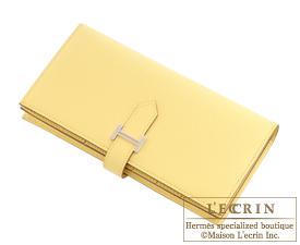Hermes Bearn Soufflet Jaune poussin Epsom leather Silver hardware