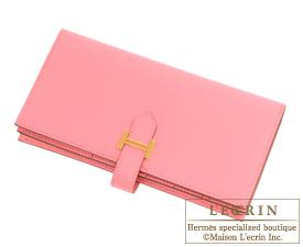 Hermes Bearn Soufflet Rose confetti Epsom leather Gold hardware