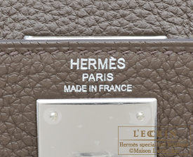 Hermes Kelly bag 28 Taupe grey Togo leather Silver hardware