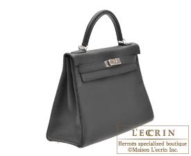 Hermes Kelly bag 32 Retourne Plomb Clemence leather Silver hardware