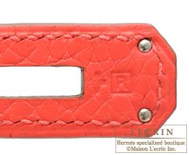 Hermes Kelly bag 28 Rose jaipur Clemence leather Silver hardware
