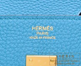 Hermes Birkin bag 25 Turquoise blue Togo leather Gold hardware