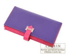 Hermes Personal Bearn Soufflet Iris/Rose tyrien Epsom leather Silver hardware