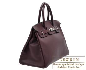 Hermes Birkin bag 35 Prune/Plum purple Clemence leather Silver hardware