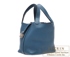 Hermes Picotin Lock bag PM Blue de presse/Dark blue Clemence leather Silver hardware