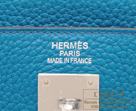 Hermes Kelly bag 35 Blue izmir Clemence leather Silver hardware